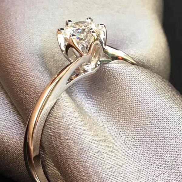 Frete grátis 9K, 14K, 18K ouro 1Ct amo o juramento Moissanite anel de diamante Design especial de flores D / F cor para sempre brilhar com certificado