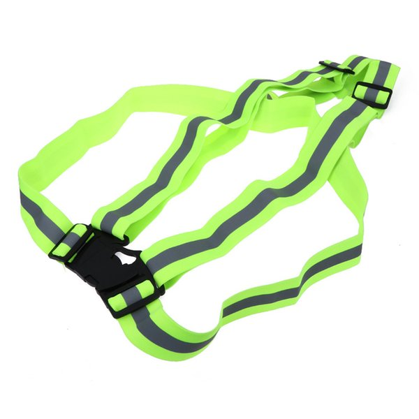 Unisex Multi Adjustable Outdoor Safety Visibility Green Reflective Vest Gear Stripes Running Sport Vest for Men/Women