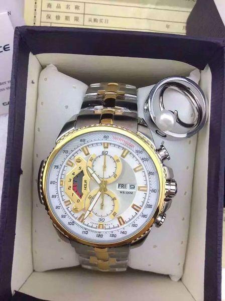 Montre de luxe en or gris EF-558 de marque EFR Designer Mens Steel Bracelet en acier à quartz à mouvement à quartz Homme Montre en argent noir POUR montre pour homme.