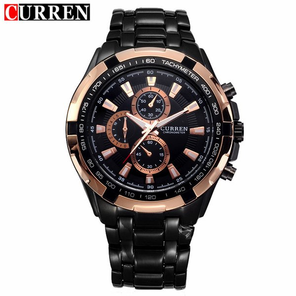curren watch mens black stainless steel quartz wrist watches waterproof sport male clock relogio masculino, Slivery;brown