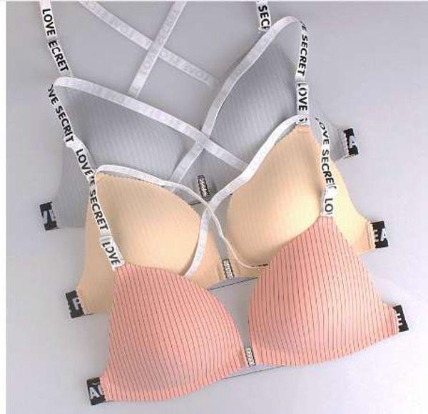 Vordere Riegel-Büstenhalter-Frauen-Entwerfer-Büstenhalter gepolstert kein Draht Drücken Bralette-reizvolle Vertrautheit Unterwäsche BH PushUp-Art Gestreifte Bruststraffung