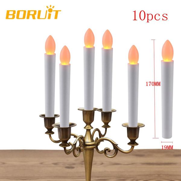 10pcs Warm White Electronic Flameless Led Candles Light Birthday Wedding Fixtures New Year Christmas Tree Decoration For Home
