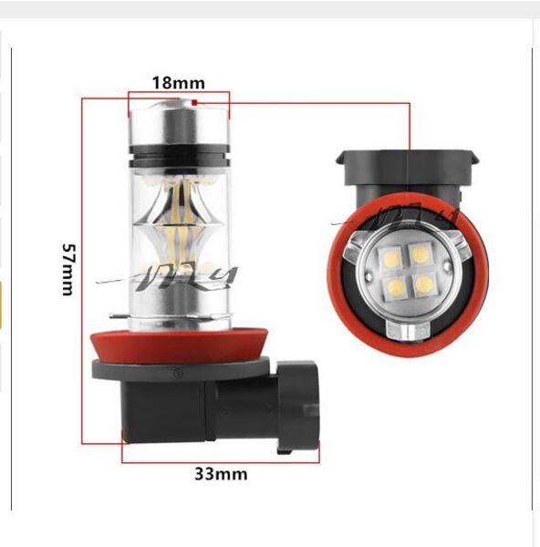 H8 / H11 100W 20LED Bombillas LED súper brillantes Luces antiniebla para automóviles DRL Lámpara de cola de conducción Fuente de luz para automóvil que estaciona 12V - 24V