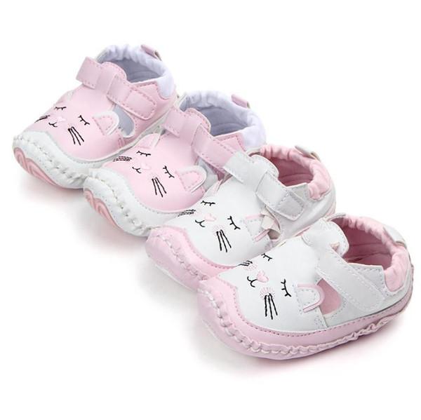 Reizende Katzen harte Sohle Kleinkind Mokassins ersten Wanderer Schuhe PU Leder Baby Mädchen Schuhe Mode Kleinkind erste Wanderschuhe