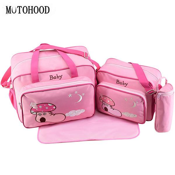MOTOHOOD 4pcs Baby Diaper Bag Sets For Mom Maternity Baby Bag Organizer Bottle + Nappy Map Cute Shoes Printing Nappy
