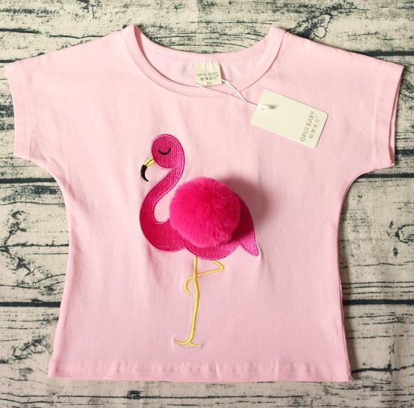INS Baby Tops Sommer Mädchen T-shirt Ball Flamingo Designs Kurzarm Weiß Rosa Casual Baumwolle T-shirt Kinder T-shirts T-stücke Kostenloser Versand T19