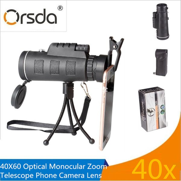 wholesale Universal 40X Optical Zoom Telescope Telephoto Mobile Phone Camera Lens For iPhone Samsung LG Android Smartphones lenses