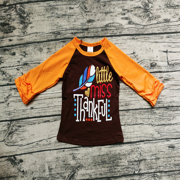 best selling Thanksgiving Baby Girl Clothes Boutique Girls Tops T-shirts Cotton Long Sleeve Ruffles Turkey Letter Print Fall Autumn Kids Clothes 1-6Y