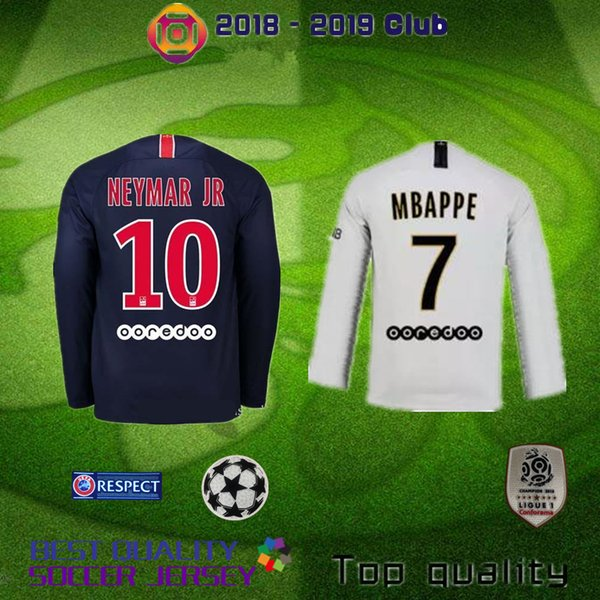 PARIS Long sleeve 18 19 PSG MBAPPE home shirt T SILVA CAVANI DI MARIA  PASTORE 2018 2019 Paris Verratti Matuidi buffon custom jersey 5575b8727