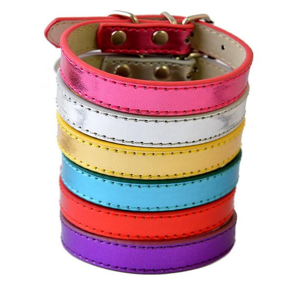 6Colors Big Sale Pu Leather Dog Collars For Small Dogs Adjustable Buckle Pet Puppy Dog Cat Collar PET DOG NECKLACE