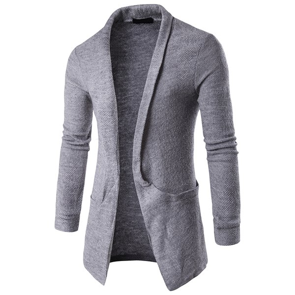 Mens Plain Knitted Cardigan Men Long Sleeve Casual Slim Fit Sweater Jacket Coat Tops Black Grey