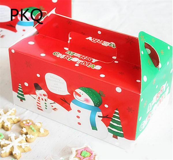 Postres Para Una Feliz Navidad.Compre 20 Unids Lote Gran Tamano Feliz Navidad Embalaje Caja De Dulces Fiesta Pastel Pastel Postre Caja De Papel Festival De Envoltura De Regalo