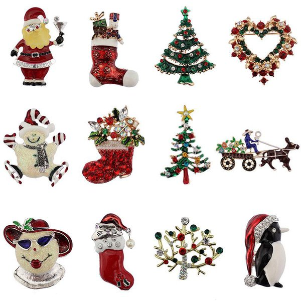2017 Christmas brooches rhinestone enamel crystal snowman tree Shoes Bells penguin Brooch Pins For women s Fashion Jewelry in Bulk lots