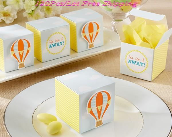 "(120 Pieces/lot) Unique Party Favor box of ""Up, Up and Away!"" Hot Air Balloon Wedding Favor Box For Baby decoration gift box"