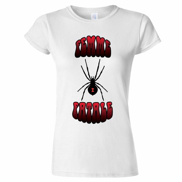 Femme Fatale Black Widow Design Womens T Shirt Spider Rock Present Metal Punk Random Graphic Tees Quirky T Shirt Designs From Bangtidyclothing
