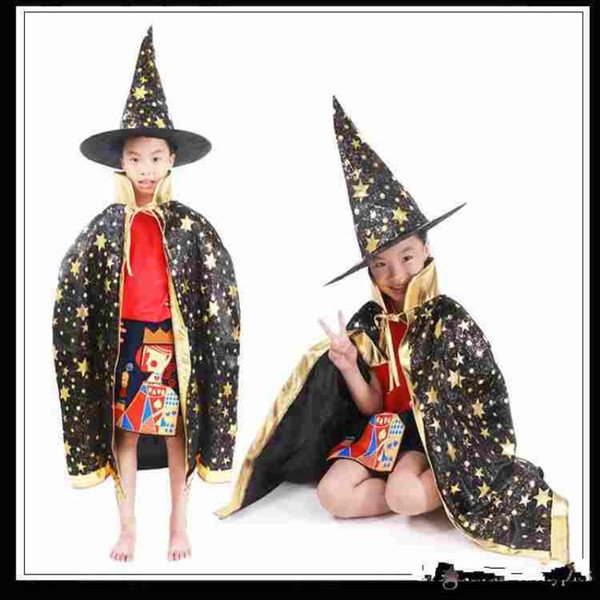 Boy Girl Kids Children Halloween Costumes Witch Wizard Cloak Gown Robe with Hat Cap Stars Fancy Dress up Cosplay