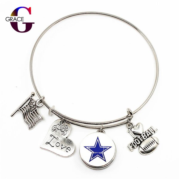 10pcs Football Sports Charms Adjustable I Love Football Expandable Men Bangle Bracelets With Ginger Snaps Buttons Jewelry