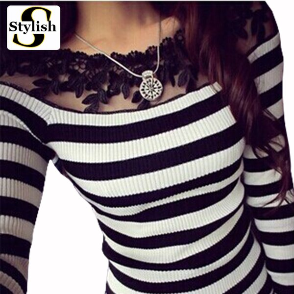 Blusa black and white striped blouse shirts Knitted women tops fashion 2018 Elegant lace embroidery long sleeve knitwear Female Y1891109