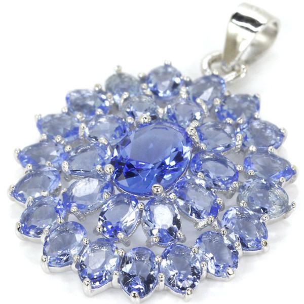 2,8g echte 925 massiv sterlingsilber violett blau farbe stein kristall frau hochzeit anhänger 32x23mm