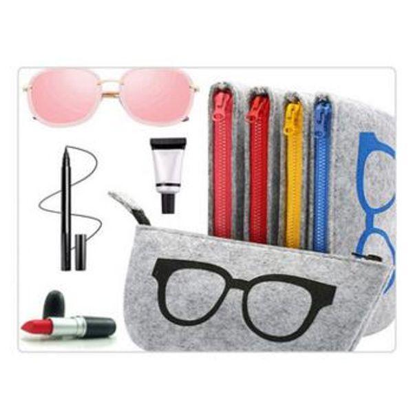 Stripped Zipper Glasses Pouch Sunglasses Case Portable Felt Bag Protector Storage Bag Freeshipping Felt Eyeglass Bag 18.5*9 cm