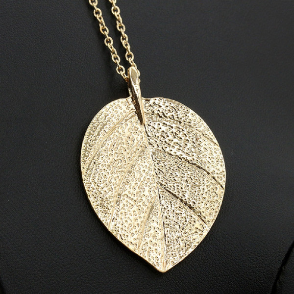 Gold Color Leaf Necklace Women Long Chain Big Statement Pendant Choker Leaves Charm Female Jewelry Fashion Sweater Accessories