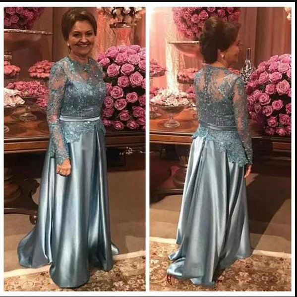 Elegant Mother Of The Bride Dresses Jewel Neck Long Sleeves Lace Appliques Beaded A Line Classic Women Formal Evening Gowns