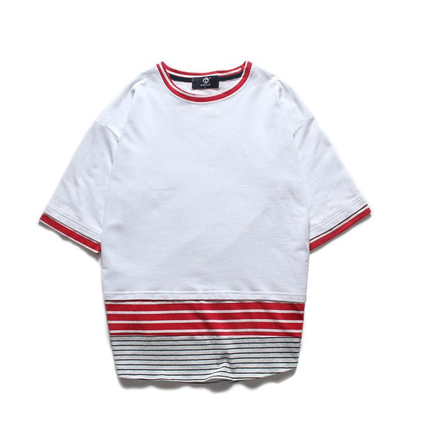2018 summer white black hip hop t shirts Street wear cotton top tees men fashion Striped patchwork short sleeves T shirt
