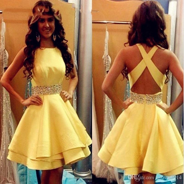 Sexy Yellow Prom Dresses Short 2017 Girls Satin Beaded Ribbon Cocktail Party Gowns Criss Cross Cheap Junior Graduation Gowns Homecoming