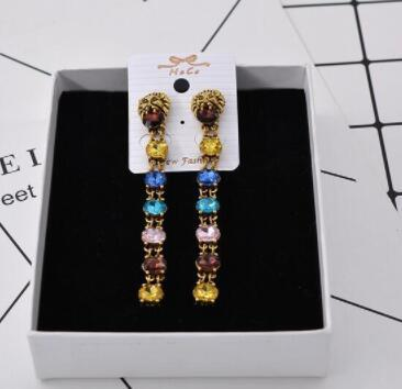 Vintage Animal Lion Head Earrings Multicolor Shining Cubic Crystal Rhinestone Drop Dangle Eardrop Ear Studs For Women Party Jewelry