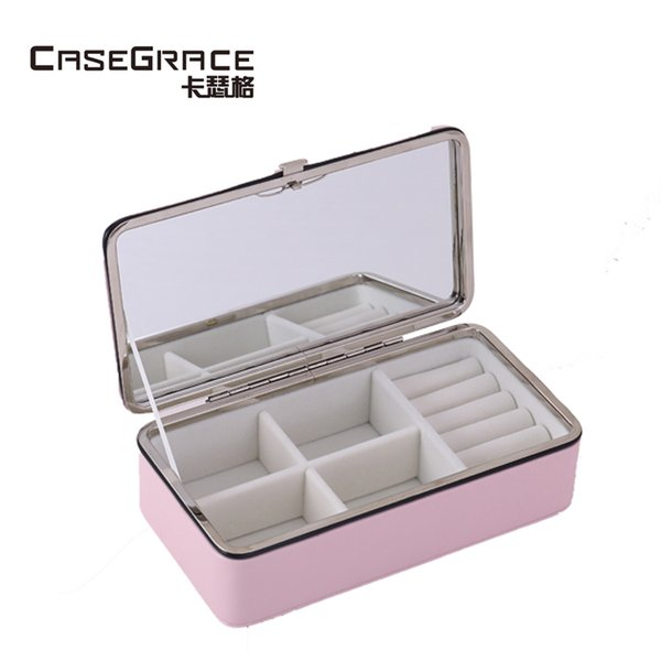 Casegrace eco-friendly women makeup organizer boxes mirror portable adjustable lady rings necklace jewelry storage bins 01140