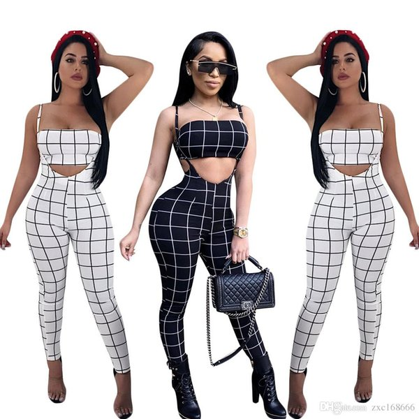Women's Clothing Summer Plaid Outfits for Women Two Piece Set Top and Pants Sexy Matching Sets Fashion Tracksuit Bodycon Romper