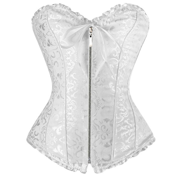 697cff4e2 Sexy White women corse Plus size Corset zipper overbust shapewear with  thong burlesque korsett corpete corselet