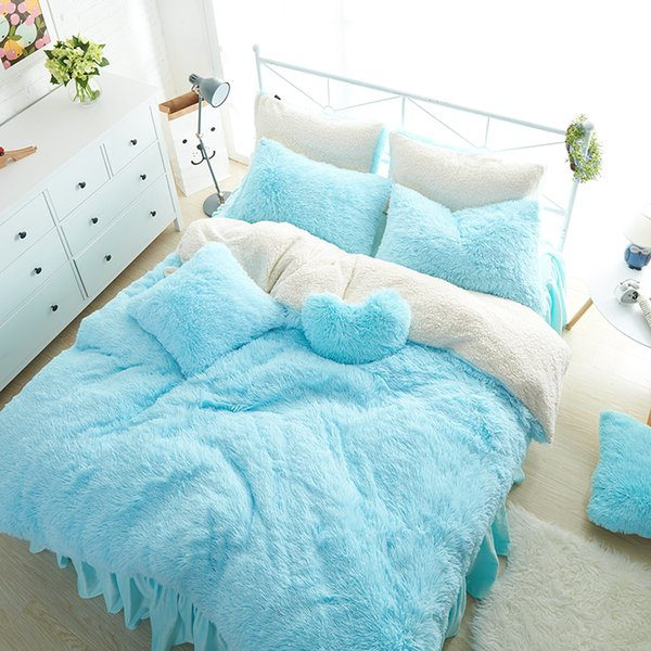 White Blue Princess Girls Bedding Set Thick Fleece Warm Winter Bed Set King  Queen Twin Size Duvet Cover Pillow Cover Bed Skirt Cool Bedding Blue ...
