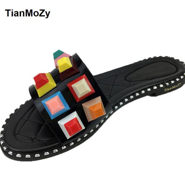 été couleur mixte chaussures bonbons rivet femme sandales à bout ouvert mules femme maison pantoufles plates pu noir blanc chaussures style punk