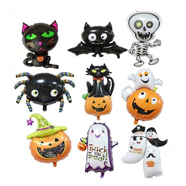 best selling 2018 Halloween Pumpkin Ghost Balloons Halloween Decorations Spider Foil Balloons Inflatable Toys Bat Globos Halloween Party Supplies