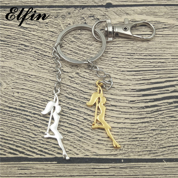 wholesale Trendy Pole Dancer Key Chains Strip Dancer Silhouette Gift for Bachelorette Party Women Keychains Keyring Figure Jewellery