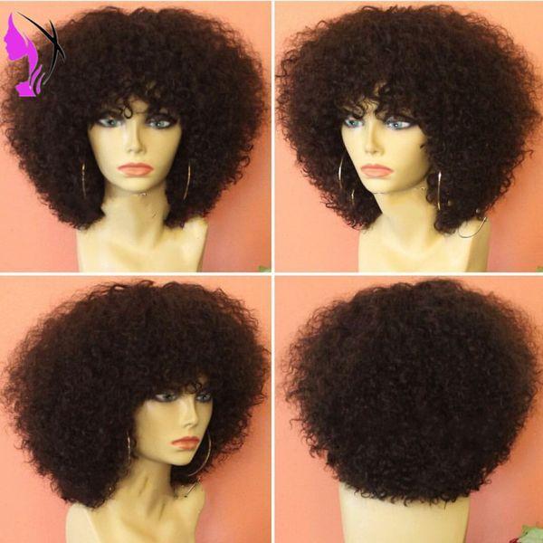 Nuevo estilo Afro Kinky Curly Lace Front pelucas sintéticas para mujeres negras 150density corto rizado pelucas con flequillo peluca tapa libre