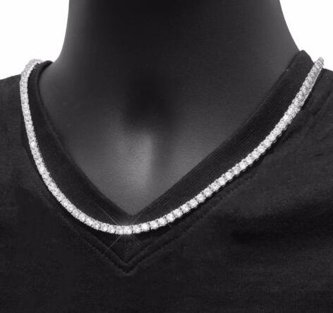 14k Gold Clear Cz Stones Iced Out Men 1 Row Tennis Chain Hip Hop Necklace