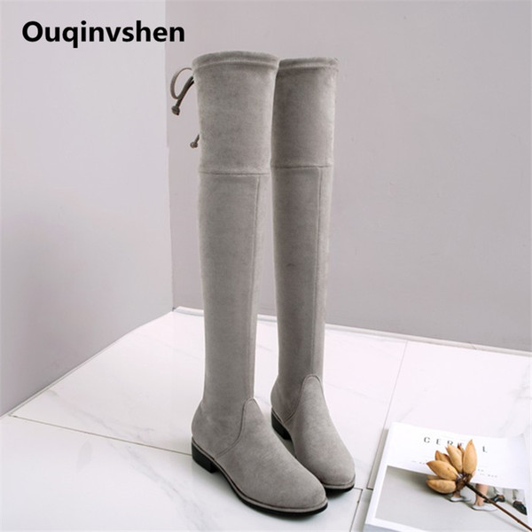 Ouqinvshen Butterfly-knot Over The Knee Boots Plus Size Winter Fashion Concise Flock Brown Shoes For Women Round Toe Flats Boots