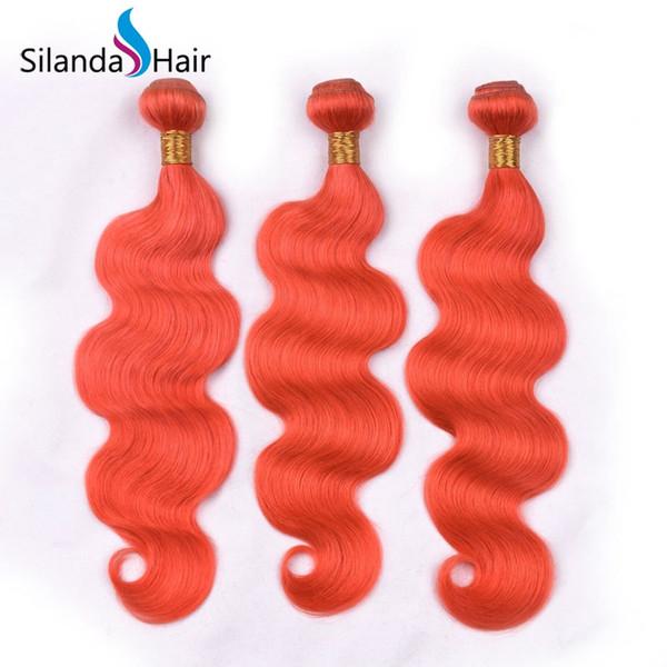 Silanda Hair Top Quality Big Discount Orange Color Brazilian Remy Human Hair Weaving Bundles Body Wave Hair Weft 3pcs per pack Free Shipping