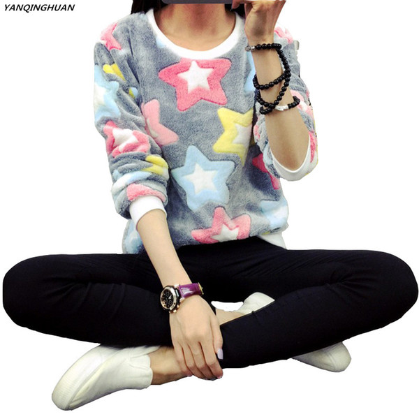 Women's Sweatshirt 2017 Five-pointed Star Print Harajuku Sweatshirt Micro Stretch Spring Winter Flannel Ladies Warm Hoodies