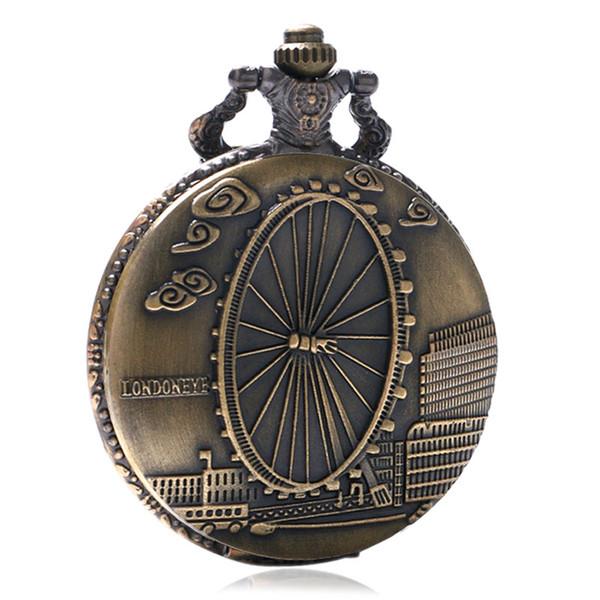 London Eye Ferris Wheel Design Cuarzo Fob reloj de bolsillo de moda hombres mujeres collar regalo de recuerdo Relogio De Bolso