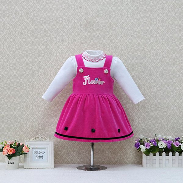 Autumn and Winter baby long-sleeved girls pure cotton blouse+velour strap dress 2pieces/set children christmas kids clothes
