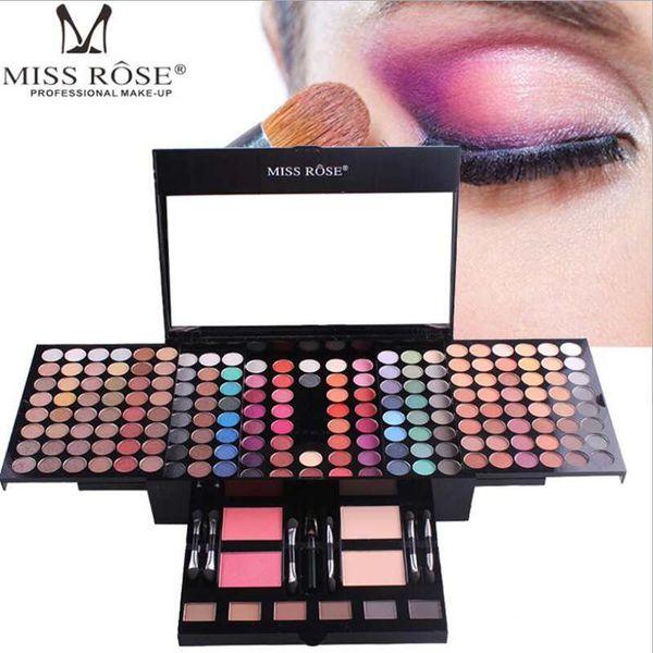 180 cores fosco nu shimmer paleta de sombras paleta de maquiagem conjunto com o espelho da escova Shrink professional Cosmetic case kit de maquiagem