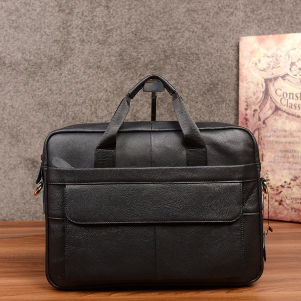 YUESKANGAROO Black Genuine Leather Briefcases cowhide male commercial Leather vintage men's messenger bag/casual Business bag