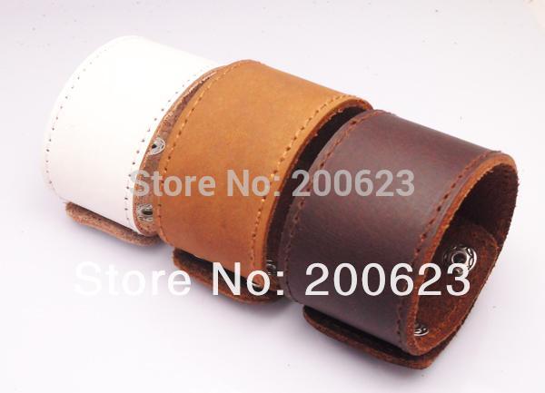 JINSE Large Manchette En Cuir, Bracelet En Cuir Plain En Cuir, Bracelet Vierge Pour Mettre Logo Bijoux vente chaude WLC001