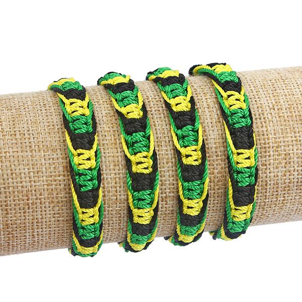 20 pcs Friendship Bracelet Wristband Cotton Cord Silk Reggae Jamaica Surfer Boho Rainbow Green Yellow Black Color Bracelet