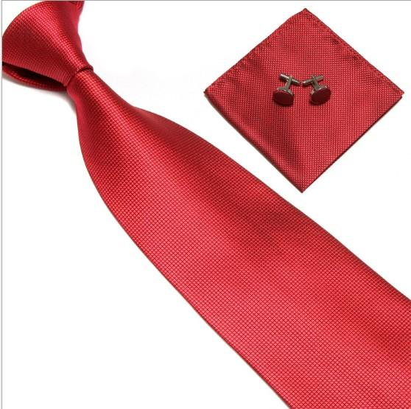 Men's Tie solid color Tie Cuff Links Handkerchief Set Casual formal clothes Accessories Free shipping