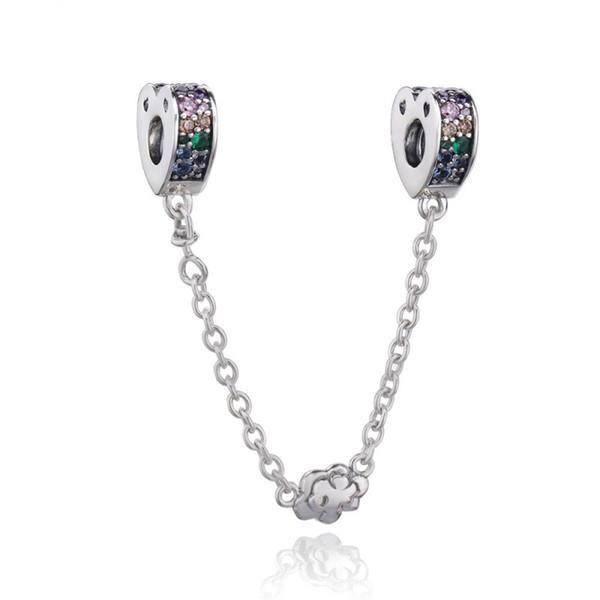 New Authentic 925 Sterling Silver Multi-Coloridas Arcos de Amor Cadeia De Segurança Multi-Coloridos Cristais Fit Pandora Encantos Pulseira Jóias
