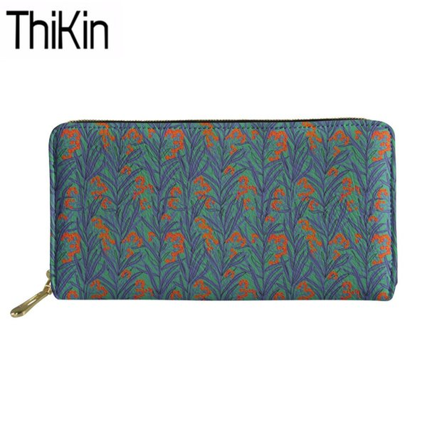 Thikin Ladies Long PU Purse Leaf Blades Printing Fashion Cash Wallets for Females Designer Portafoglio Donna Girls Coin Pocket